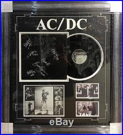 Acdc Hand Signed Framed Back In Black Vinyl Album Photo Collage Young Rudd