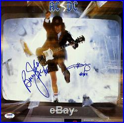 Angus Young & Brian Johnson AC/DC Signed Album Cover With Vinyl PSA/DNA #Z96969