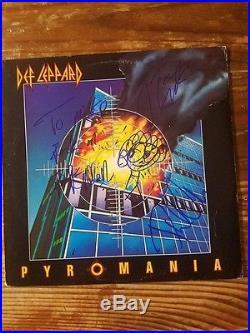 DEF LEPPARD signed autographed PYROMANIA vinyl album. JOE ELLIOTT, RICK ALLEN + 1