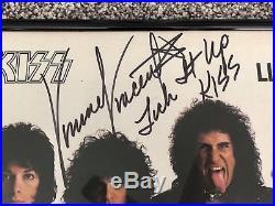 FRAMED Vinnie Vincent KISS Signed Autograph LICK IT UP Album Vinyl LP