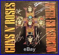 GUNS N ROSES vinyl album. Year 1987. SIGNED BY FIVE BANDMEMBERS