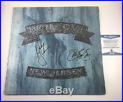 Jon Bon Jovi Sambora Signed Autographed New Jersey Vinyl Album Beckett COA