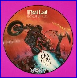 MEATLOAF SIGNED BAT OUT OF HELL VINYL LP ALBUM PICTURE DISC WITH BAS COA psa jsa
