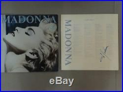 Madonna Genuinely Hand Signed True Blue Album Lp Inner Cover Vinyl