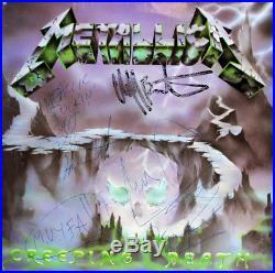 Metallica (4) Hetfield, Burton +2 Signed Album Cover With Vinyl BAS #A05152