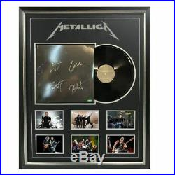 Metallica Hand Signed Framed Black Vinyl Album Hetfield Urlich Hammett Trujillo