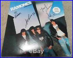 RAMONES signed autographed album vinyl LEAVE HOME by JOEY, JOHNNY MARKY & CJ