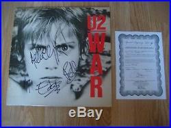 U2 Signed WAR Vinyl ALBUM Autograph by all 4 UACC COA Bono, The Edge 100%
