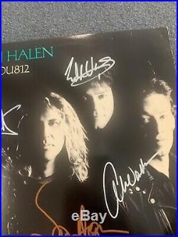 Van Halen Autographed Vinyl Cover Album OU182 Eddie Alex Hagar Michael Rare V163